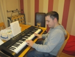 """James working on his current song """"I know him so well"""" by Elaine Paige"""